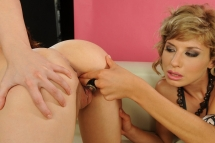 Sweet Sophie Moone in a hot lesbian threesome act