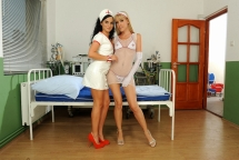 Hot lesbian nurses Sophie and Bettina in action