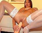 Nice titted Zafira is fisting and toying a dildo