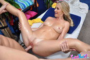 Cute 18 year old blond Casi seduced and fucked hard after her free massage!