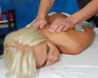 Tall blonde comes back for another massage and fuck session