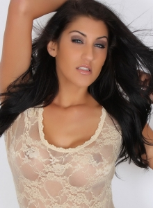 Alluring Vixens: Stunning Alluring Vixen Anne teases with her curves in her almost sheer lace lingerie