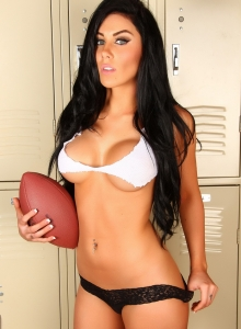 Alluring Vixens: Busty Alluring Vixen Danielle scores a touch down with her skimpy ripped top and panties