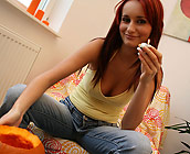 Claudia - Trashy European Red Head Claudia rides a huge cock