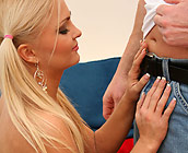 Nikki - Cute European blonde Nikki has sex on sofa with cumshot