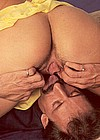 Blowing his big load over her firm nice seventies boobies