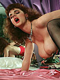 Busty eighties honey in stockings loves a cock inside her