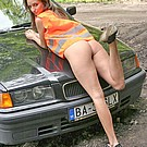 Petite teen girl doing traffic control completely naked