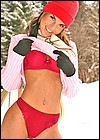 Hot brunette teen strips and shows her body in the snow