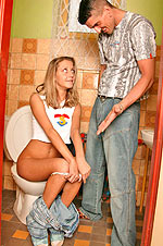 Peeing teen has a visitor who is willing to please her pussy