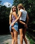 Tight UK blondes masturbating pussy with a dildo in the park