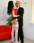 Sexy brunette streetslut in stocking pounded by horny senior