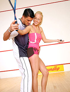 Blonde teenage cutie gets some dirty squash instructions