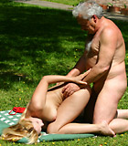 Busty blonde beauty fucked outdoor by a senior zen master