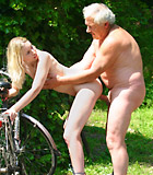 Horny blonde beauty gets fucked outdoor by an older male