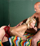 Blonde lingerie babe fucked in twat by an older horny man
