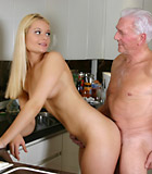 Blonde beauty adores an old male and pleases his stiff cock