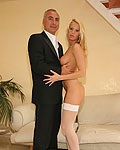 Blonde babe with stockings gets fucked rough by Jimslip