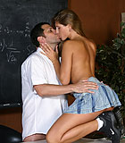 Horny senior teacher banging this brunette beauty in class