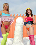 Horny Teenage cuties with big funbags build a huge snow cock