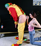 Retired depressed clown gets fucked by a sexy teenage babe