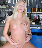 Senior showing a horny blonde beauty his powerful tools