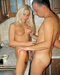 Big breasted blonde teenie gets fucked hard in the kitchen