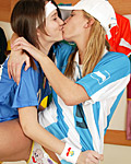 Two soccer loving lesbian teens toying their tight pussy