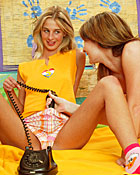 Two lesbian teenagers trying their big dildos on eachother