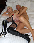 Blonde prepares her tight asshole for a British senior cock