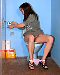 Naughty girl pleasing a strangers cock in a public toilet