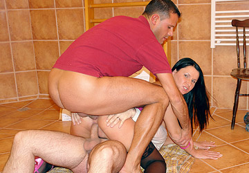 Cute brunette gets all her holes stretched to the limit