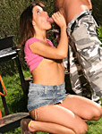 Brunette teenage girl riding a big stiffy penis outdoor