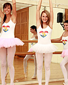 Four cute lesbian girls practising their ballet lessons