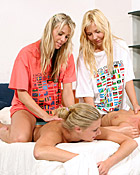 Four teenage blondes toying their tight pussyholes together