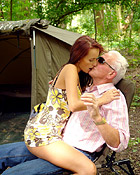 Freaky old grandpa fucks a cute teen on the campingsite