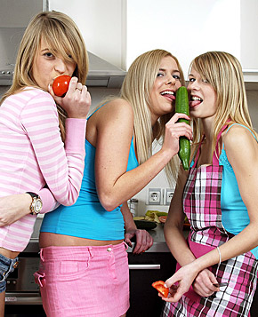 Three blonde teenie lesbos toying eachother in the kitchen