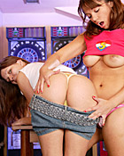Two naughty lesbian friends toying eachothers juicy pussy