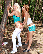 Two dildo loving teenage cuties love playing in a forest