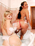 Two bathing teenage lesbians getting really dirty together