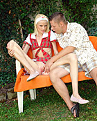 Young blonde girl with a petite body gets fucked outdoor