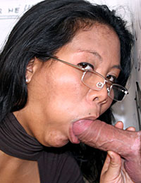 Slutty Asian girl pleases a stiff anonymous gloryhole cock
