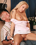 Senior barber fucking a blonde hottie in his own hairsalon