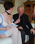 Brunette slut fucking a senior priest and his young friend