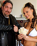 Busty hooker babe gets paid to please a tiny Brasilian cock