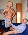 Blonde British bimbo pleases a dirty old man for some cash