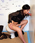 Slutty brunette fucking an anonymous boner in the toilet