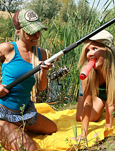 Naughty lesbian teenage blondes on an erotic fishing trip