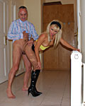 Horny old senior banging a cheap blonde slut he picked up