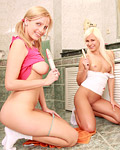 Two sweet busty blonde teenagers toying eachothers slit